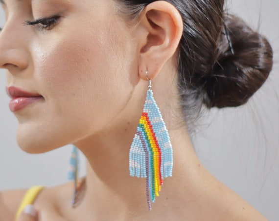 Rainbow Sky Earrings, Indigenous Made Beaded Earrings, Boho Rainbow Earrings, Native American Beaded Earrings, Colorful, Vibrant, Handmade