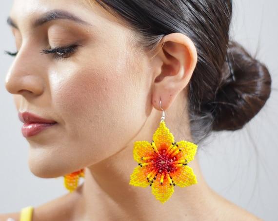Yellow Flower Earrings, Indigenous Made Jewelry, Flower Boho Earrings, Native American Beaded Earrings, Handmade Boho Jewelry
