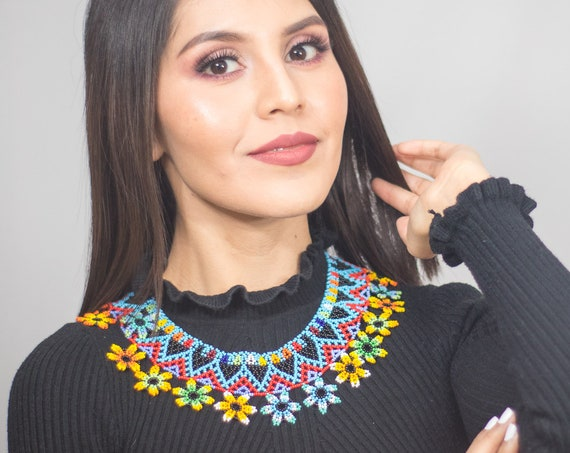 Boho Flower Necklace, Beaded Statement Necklace, Native American Beaded Necklace, Jewelry, Collar Necklace, Bright | Biulu Artisan Boutique