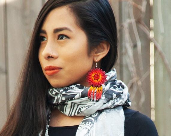 High Fashion Tribal Earrings, Sunflower Earrings, Huichol Earrings, Native American Beaded Earrings, Statement Earrings, Festival Jewelry