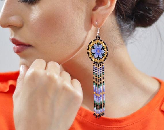 Long Starburst Earrings, Beaded Stars, Native American Jewelry Huichol, Star Earrings, Cute Circles w/ Tassels | Biulu Artisan Boutique