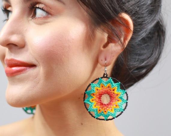 Starburst Earrings, Beaded Stars, Boho Sun Earrings, Native American Jewelry Huichol, Stars, Indigenous Made Beaded Earrings, Handmade
