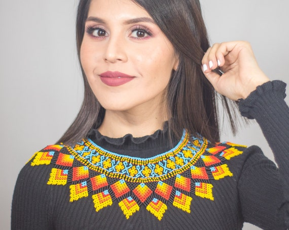 Statement Collar Necklace, Beaded Boho Necklace, Native American Beaded Necklace, Colorful, Powerful Jewelry | Biulu Artisan Boutique