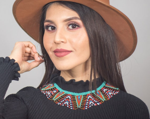 Tribal Boho Necklace, Native American Beaded Necklace, Jewelry, Collar Necklace, Statement Necklace, Boho Chic | Biulu Artisan Boutique