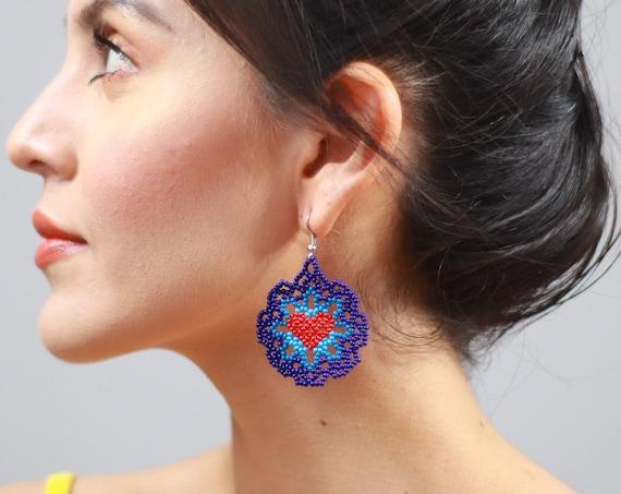 Dainty Heart Earrings, Blue Boho Beaded Earrings, Cute, Feminine Heart Earrings, Native American Beaded Earrings, Jewelry, Indigenous Made