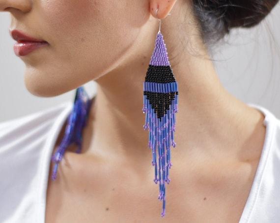 Starry Night Boho Earrings, Indigenous Made Earrings, Beaded Boho Earrings, Night Sky, Boho Dangle Earrings, Handmade, Native American