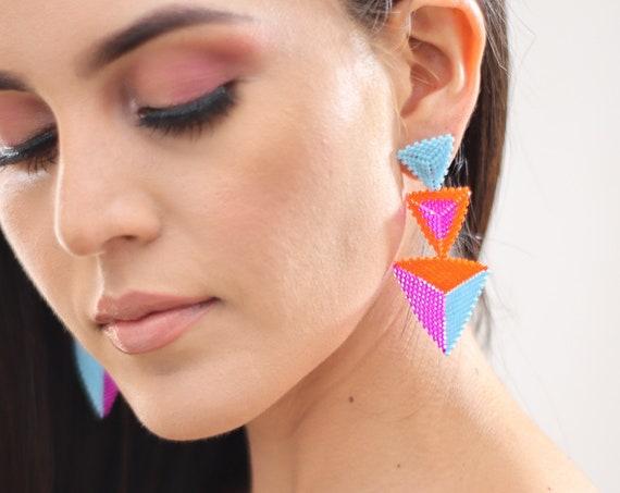 Beaded Boho Earrings, Geometric Earrings, Abstract, Indigenous Made Earrings, Shapes, Colorful, Chic Boho Earrings, Post Earrings, Handmade
