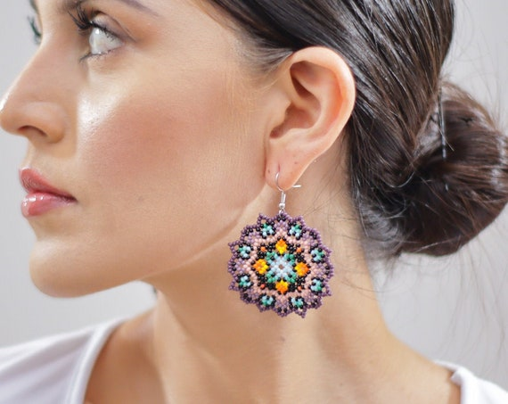 Boho Medallion Earrings, Tribal Pattern, Indigenous Made Jewelry, Native American Beaded Earrings, Beaded Boho Earrings, Purple, Handmade