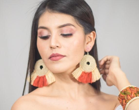 Wicker Fan Boho Earrings, Native American Earrings, Wheel Earrings, Tribal Boho, Statement Earrings, Lightweight, Indigenous Made, Handmade