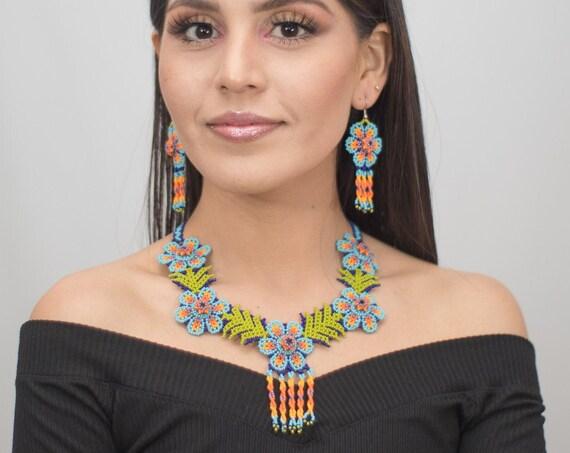 Beaded Peyote Choker Set, Indigenous Made, Good Luck, Wisdom, Blue Boho Choker, Matching Earrings, Native American Beaded Jewelry