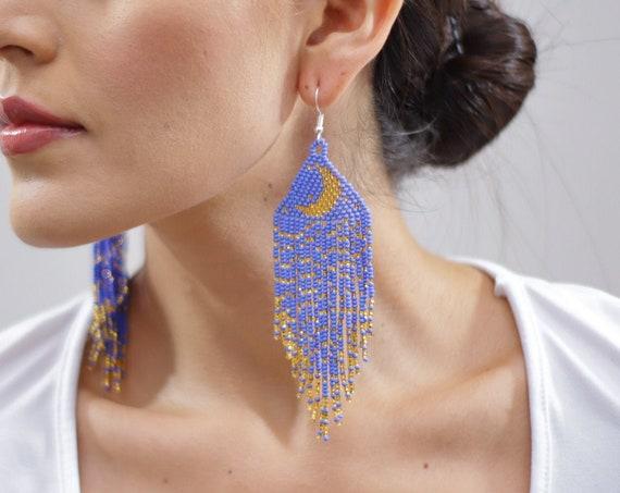 Crescent Moon Earrings, Indigenous Made Earrings, Waxing Moon Jewelry, Native American Beaded Earrings, Violet, Gold, Handmade, Boho Jewelry