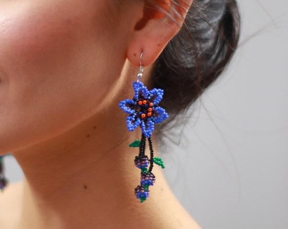 Boho Flower Earrings, Native American Beaded Earrings, Violet, Purple Flowers, Beaded Boho Earrings, Indigenous Made, Seed Bead Earrings