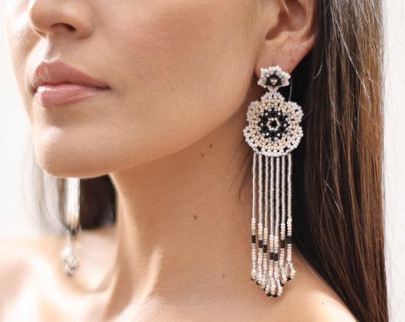 Beaded Flower Earrings w/ Posts, Boho Beaded Earrings, Native American Beaded Earrings, Indigenous Made, White Gray, Huichol Jewelry