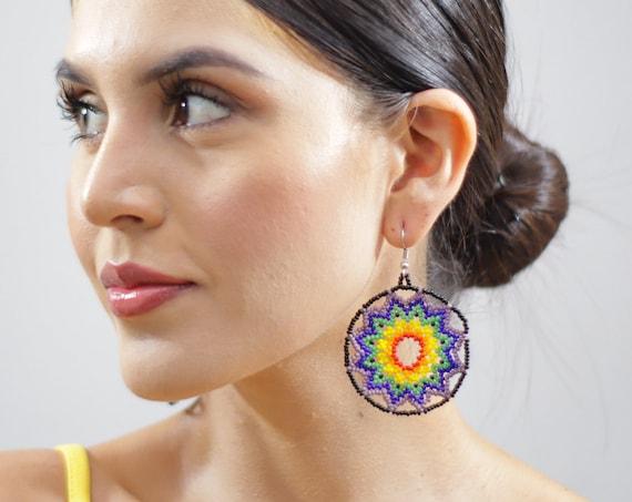 Vibrant Starburst Earrings, Beaded Stars, Boho Sun Earrings, Native American Jewelry Huichol, Stars, Indigenous Made Earrings, Handmade