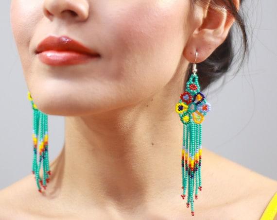 Rainbow Peyote Boho Earrings, Native American Beaded Earrings, Bright and Colorful Beaded Earrings, Special Gift | Biulu Artisan Boutique