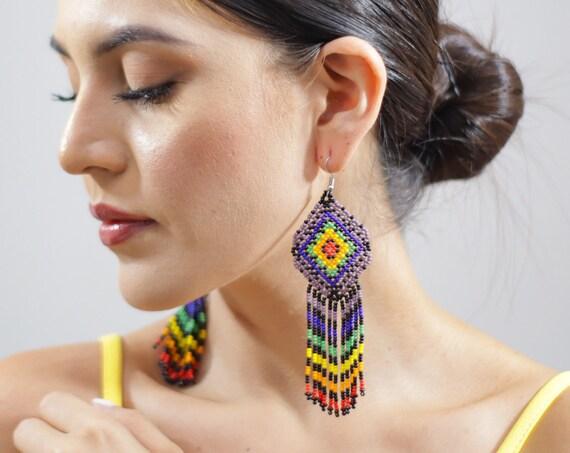 Colorful Tribal Earrings, Boho Beaded Earrings, Seed Bead Earrings, Indigenous Made, Boho Jewelry, Handmade | Biulu Artisan Boutique