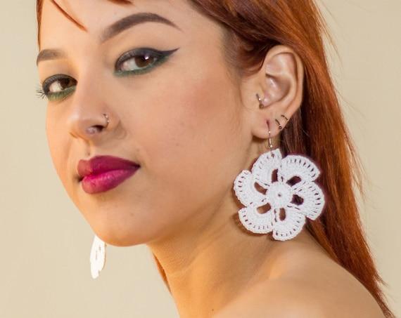 White Mandala Earrings, Boho Earrings, White Sun Earrings, Ultra Lightweight, Boho Chic, Statement Earrings | Biulu Artisan Boutique