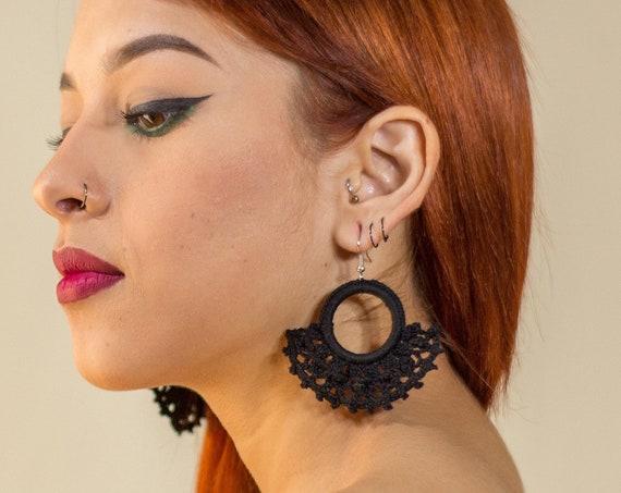 Black Hoop Earrings with Macrame Fans, Fan Earrings, Boho Earrings, Statement Earrings, Tribal Fashion Earrings, Indigenous Made, Arracadas