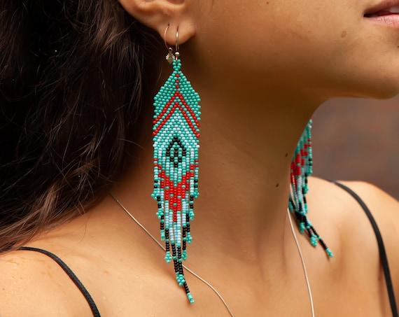 Feather Style Earrings, Native American Beaded Earrings, Turquoise, Boho Chic, Tribal Jewelry, Huichol, Seed Bead   Biulu Artisan Boutique