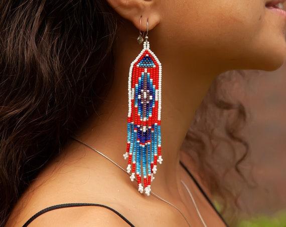 Native American Style Beaded Earrings, Boho Tribal Earrings, Long Narrow Earrings, Beaded Boho Earrings, High Fashion Tribal Earrings