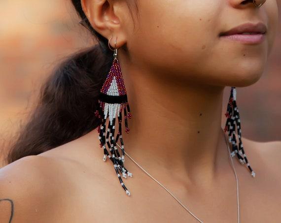 Shoulder Duster Earrings, Long Dangling, Native Beaded Earrings, Gypsy Jewelry, Boho Chic, Handmade on Etsy   Biulu Artisan Boutique