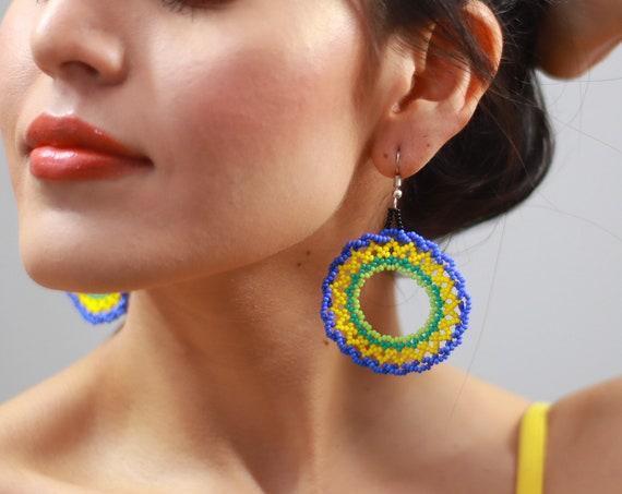 Boho Hoop Earrings, Native American Beaded Earrings, Beaded Hoop Earrings, Round Sun Earrings, Handmade, Indigenous Beaded Earrings, Jewelry