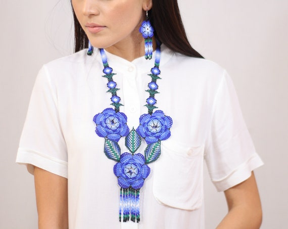 Blue Flower Necklace, Modern Ethnic Jewelry, Native American Beaded Necklace, Earrings, Boho Statement Necklace, Jewelry Set, Handmade