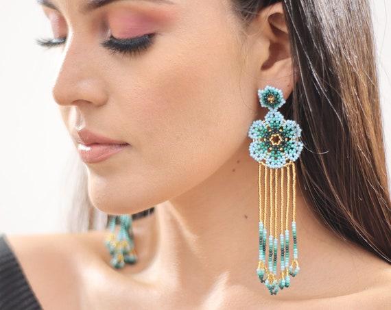 Beaded Flower Earrings w/ Posts, Boho Beaded Earrings, Native American Beaded Earrings, Indigenous Made, Handmade, Blue, Huichol Jewelry