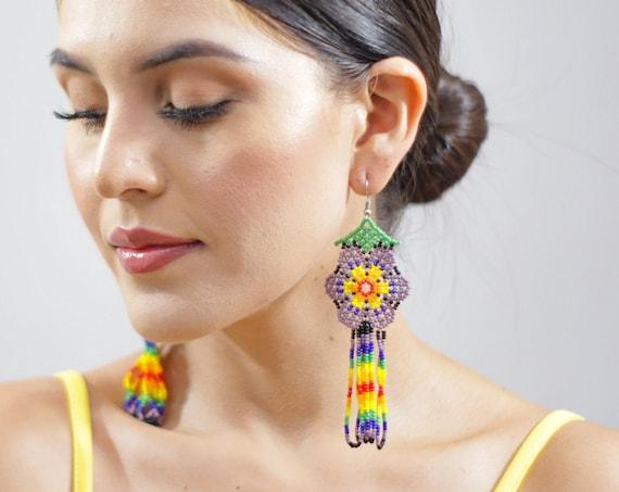 Colorful Huichol Earrings, Beaded Boho Earrings, Indigenous Made, Jewelry, Boho Style, Native American Beaded Earrings, Handmade