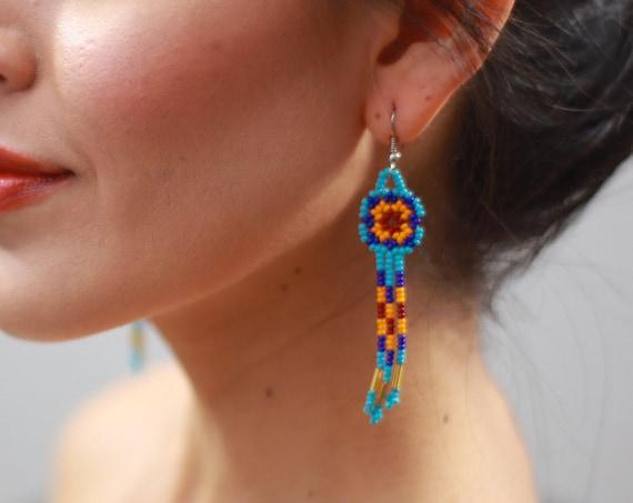 Dainty Boho Beaded Earrings, Small Dreamcarcher Design, Indigenous Made Earrings, Lightweight, Blue, Orange, Handmade Earrings