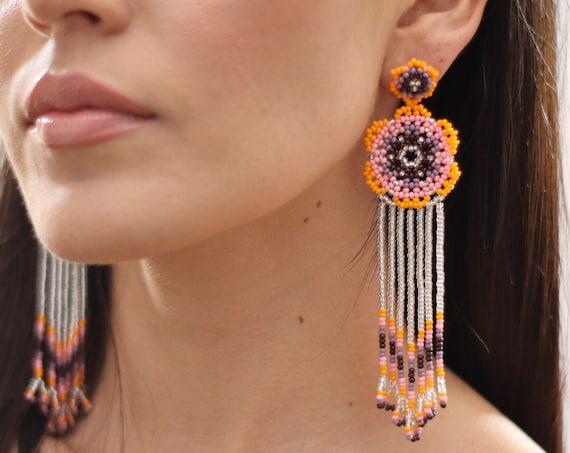 Beaded Flower Earrings w/ Posts, Boho Beaded Earrings, Native American Beaded Earrings, Indigenous Made, Orange Pink, Huichol Jewelry