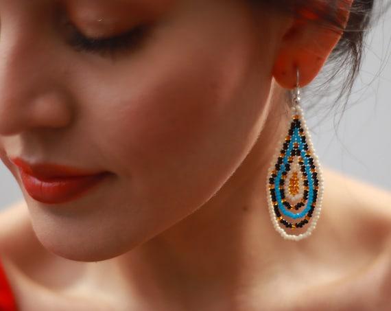 """Seed Bead Handmade Earrings, 2"""" Teardrop Earrings, Dainty Beaded Boho Earrings, Native Style Beaded Earrings, Chic, Tribal Earrings"""