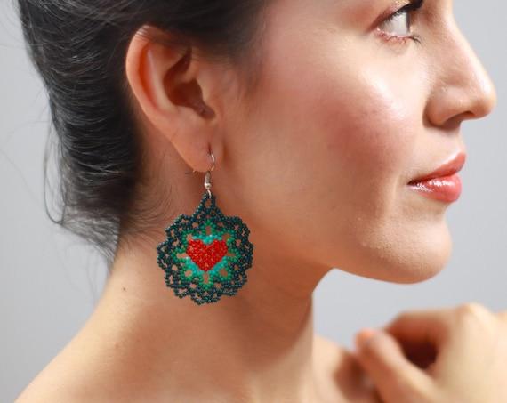 Dainty Heart Earrings, Native American Beaded Earrings, Green Boho Beaded Earrings, Cute, Feminine Heart Earrings, Jewelry, Indigenous Made