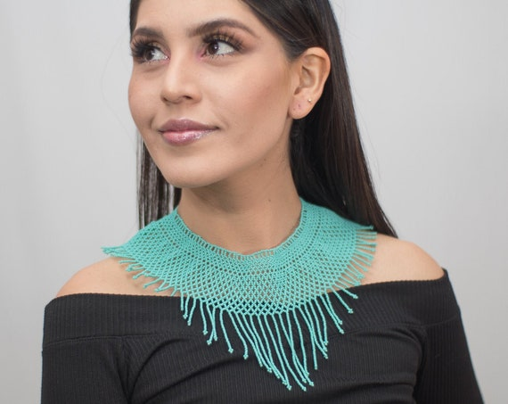 Turquoise Boho Collar Necklace, Native American Beaded Necklace, Beaded Statement Necklace, Boho Chic Necklace | Biulu Artisan Boutique
