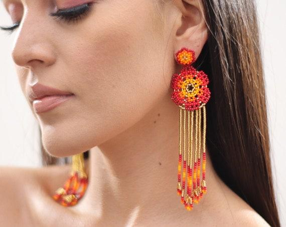 Beaded Flower Earrings w/ Posts, Boho Beaded Earrings, Native American Beaded Earrings, Indigenous Made, Handmade, Red Gold, Huichol Jewelry