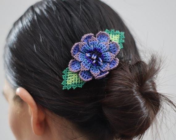 Handmade Beaded Barrette, Violet Flower Hairclip, Boho, Native American Jewelry, Indigenous Made, Boho Hair Accessories, Hair Barrette