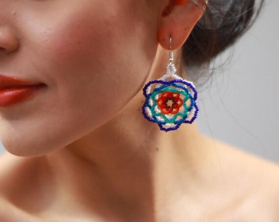Dainty Abstract Flower Earrings, Indigenous Made Beaded Earrings, Boho Chic Earrings, Native American Beaded Earrings, Handmade, Blue White