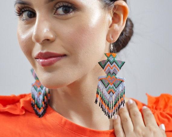Large Boho Tribal Earrings, Beaded Statement Earrings, Indigenous Made, Native American Beaded Earrings, Handmade | Biulu Artisan Boutique