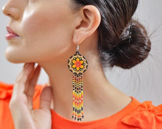 Long Star Earrings, Beaded Stars, Native American Jewelry Huichol, Starburst Earrings, Cute Circles w/ Tassels | Biulu Artisan Boutique