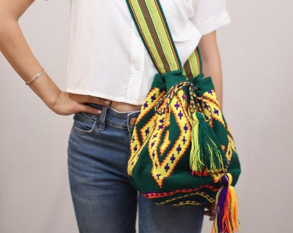 Green Yellow Boho Bag, Geometric Crochet Bag, Top Loader Purse, Mens Bag, Womens Purse, Unisex, Indigenous Made, Traditional Crafting