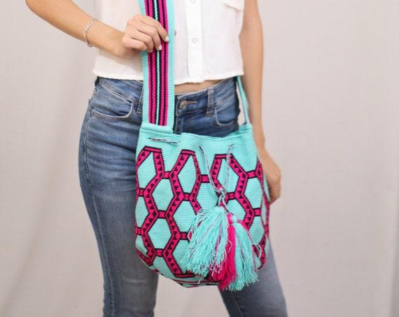 Blue Pink Boho Bag, Geometric Crochet Bag, Top Loader Purse, Mens Bag, Womens Purse, Unisex, Indigenous Made, Traditional Crafting