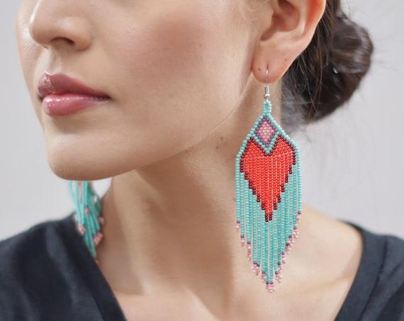 Boho Heart Earrings, Native American Beaded Earrings, Beaded Boho Earrings, Turquoise, Red Heart Earrings, Boho Chic, Statement Earrings