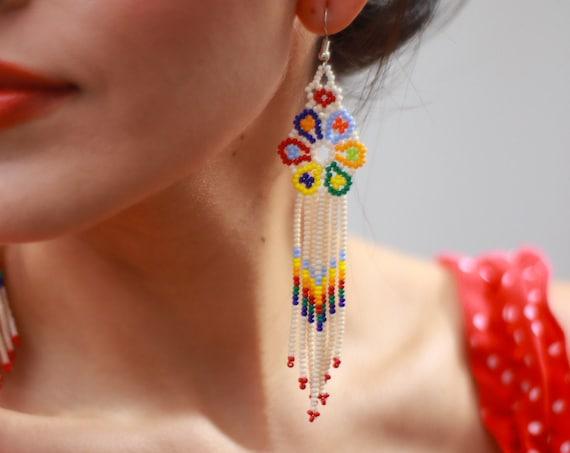 Indigenous Beaded Earrings, Rainbow Peyote Boho Earrings, Native American Beaded Earrings, Bright and Colorful Beaded Earrings, Handmade