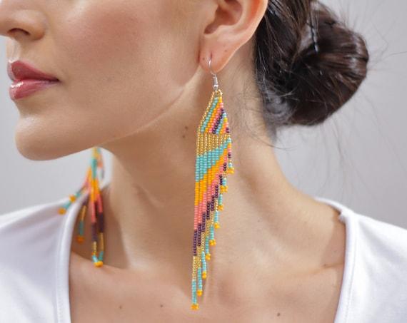 Feather Style Earrings, Beaded Boho Earrings, Native American Beaded Earrings, Handmade, Indigenous Made, Jewelry | Biulu Artisan Boutique