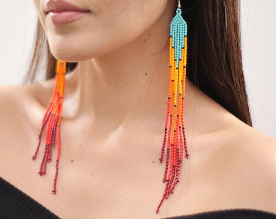 Long Boho Beaded Earrings, Statement Earrings, Native American Beaded Earrings, Long Chandelier Earrings, Chic | Biulu Artisan Boutique