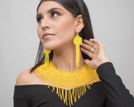 Yellow Boho Necklace, With Earrings, Native American Beaded Jewelry, Beaded Statement Necklace Set, Boho Chic | Biulu Artisan Boutique