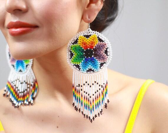 Rainbow Star Earrings, Native Beaded Earrings, Sun Earrings, Statement, Aesthetic Earrings, Large Boho Chandelier Earrings, Indigenous Made