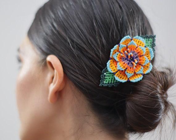 Boho Flower Hairclip, Handmade Beaded Barrette, Vibrant, Native American Jewelry, Indigenous Made, Boho Hair Accessories, Hair Barrette
