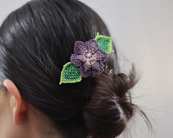 Purple Flower Barrette, Handmade Beaded Hairclip, Boho, Native American Jewelry, Indigenous Made, Boho Hair Accessories, Hair Barrette