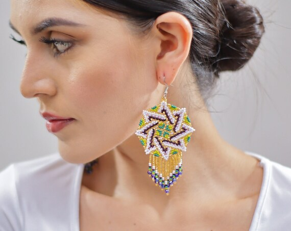 Beaded Sun Earrings, Geometric Sun Earrings, Native American Beaded Earrings, Huichol Jewelry, Indigenous Made, Handmade Earrings, Starburst